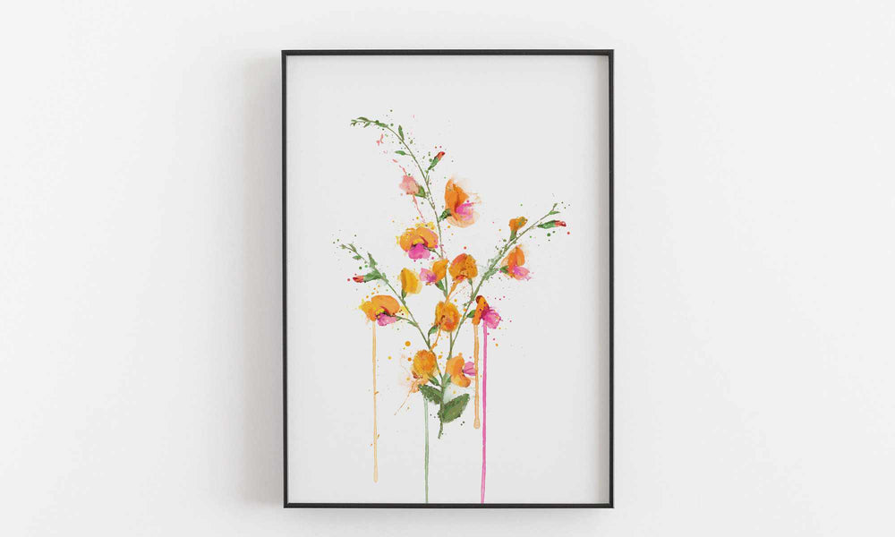 Flower Wall Art Print 'Flame Pea'