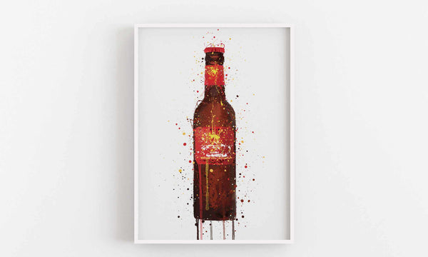 Beer Bottle Wall Art Print 'Rambla Red'