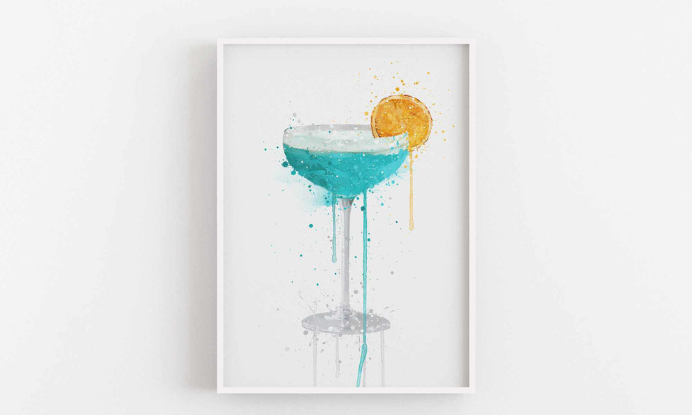 Blue Lagoon 'Coupe' Cocktail Wall Art Print