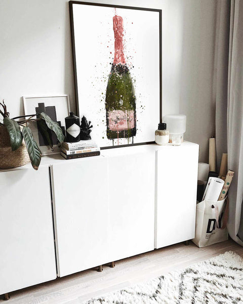 Champagne Bottle Wall Art Print 'Miss Flamingo'