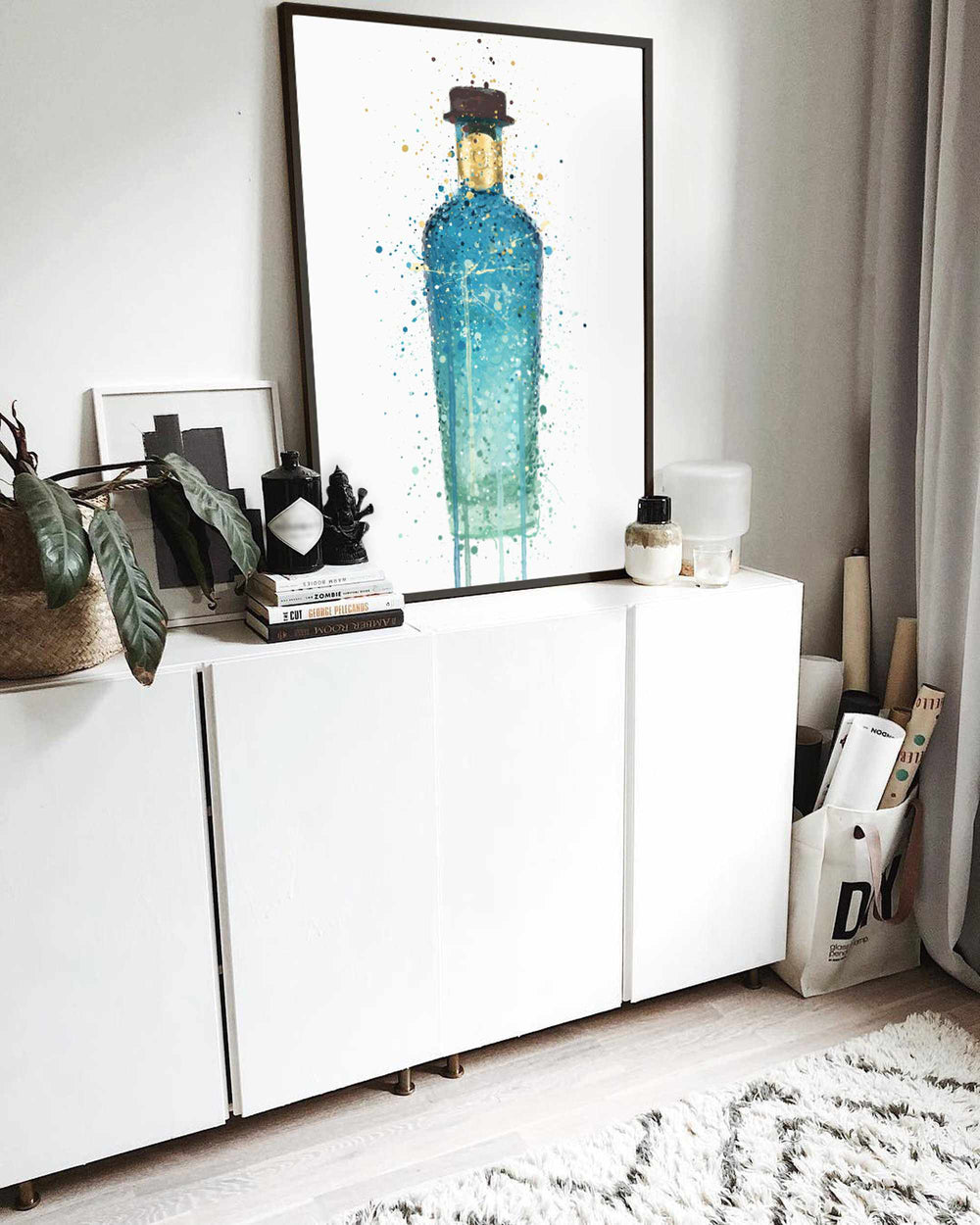 Gin Bottle Wall Art Print 'Atlantis'