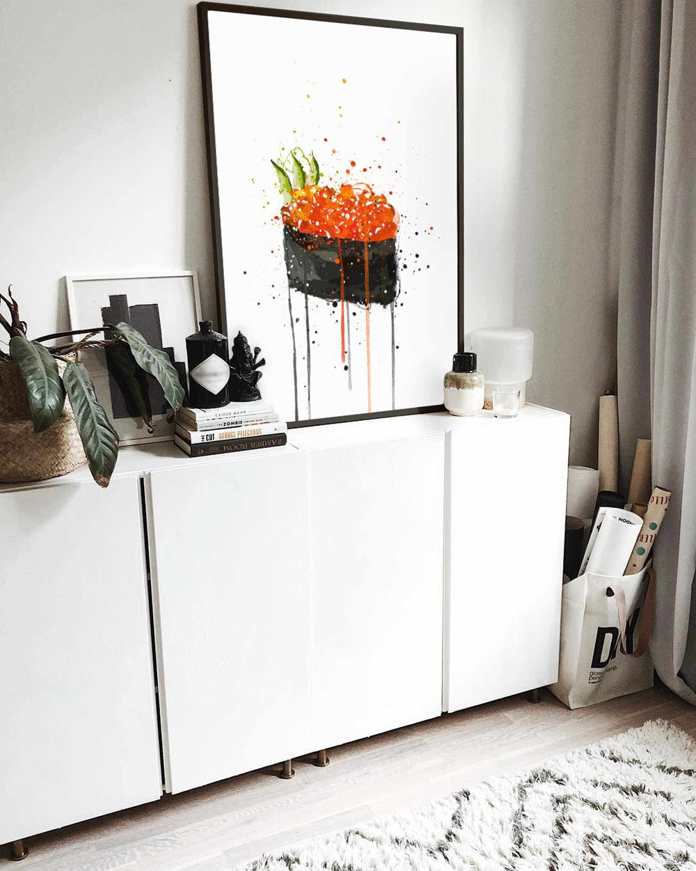 Sushi Wall Art Print 'Red Caviar Gunkan'