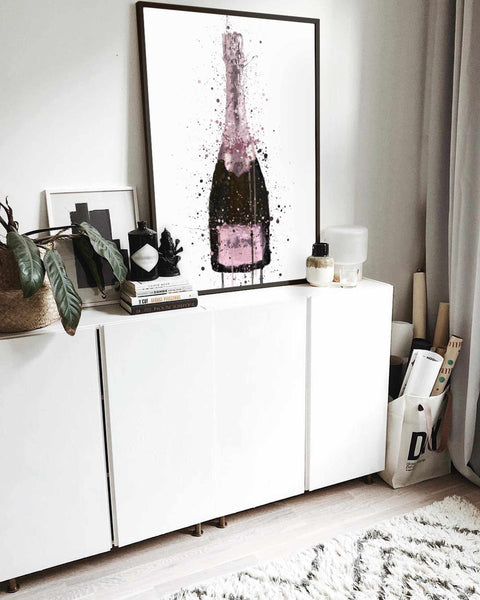 Champagne Bottle Wall Art Print 'Cosmic Rose'