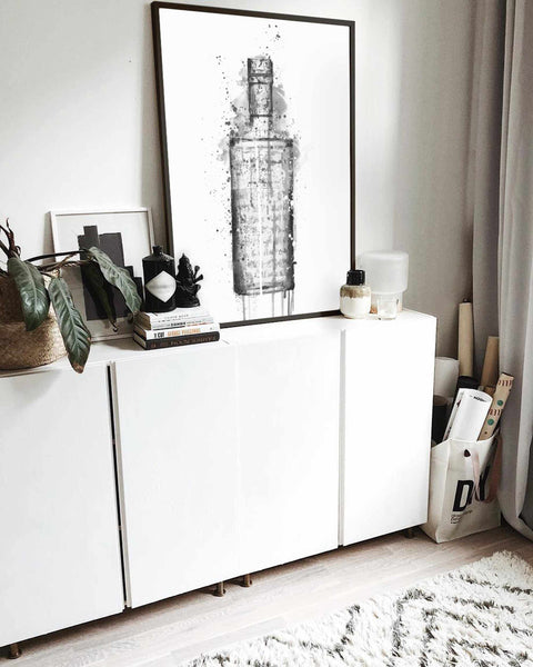Gin Bottle Wall Art 'Steel Grey' (Grey Edition)