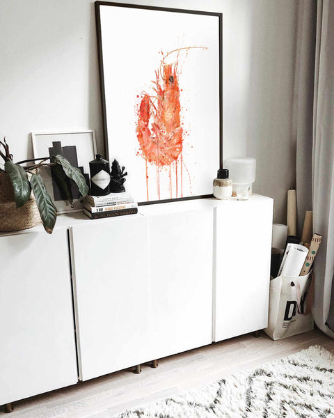 Seafood Wall Art Print 'Prawn'
