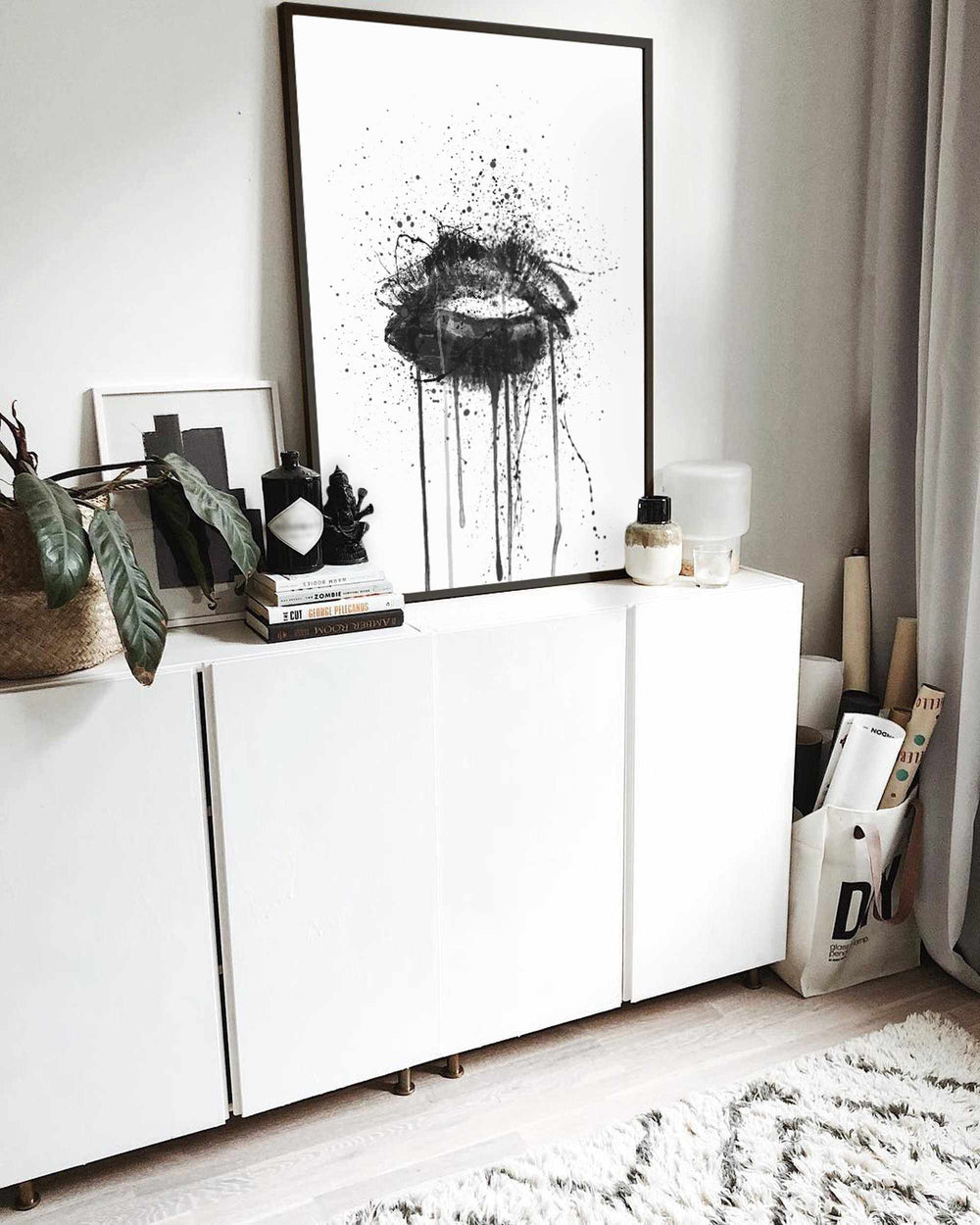Black Velvet' Lips Wall Art Print