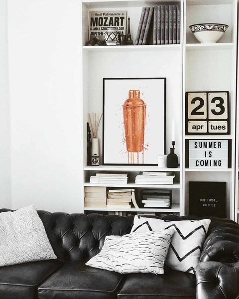 Cocktail Shaker Wall Art Print (Copper)
