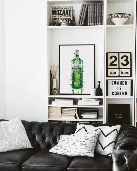 Gin Bottle Wall Art Print 'Leaf Green'-We Love Prints