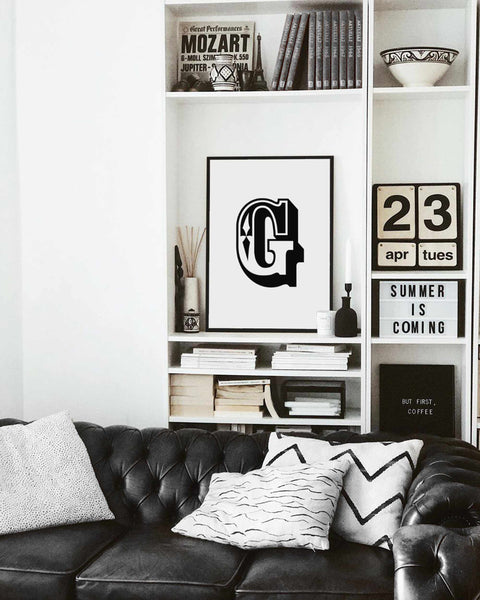 Typographic Wall Art Print 'G'