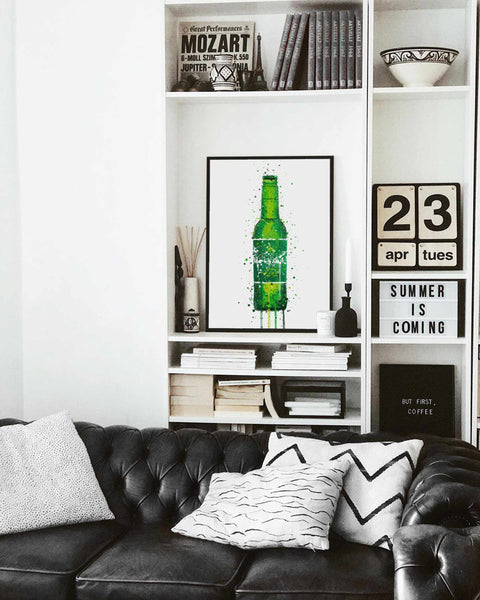 Beer Bottle Wall Art Print 'Danish Green'