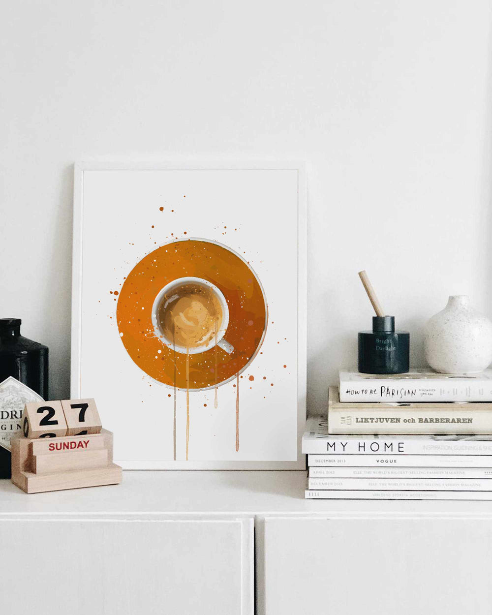 Coffee Wall Art Print 'Espresso Orange'