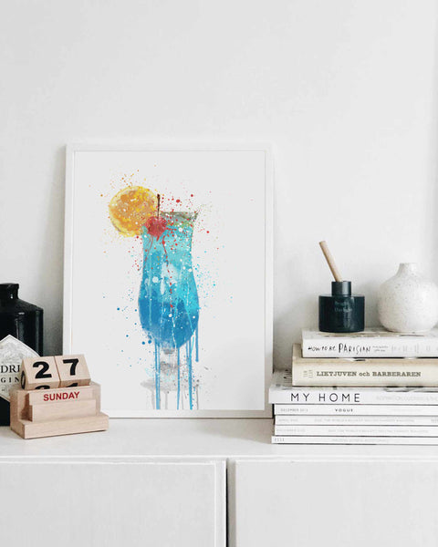 Blue Lagoon Cocktail Wall Art Print-We Love Prints
