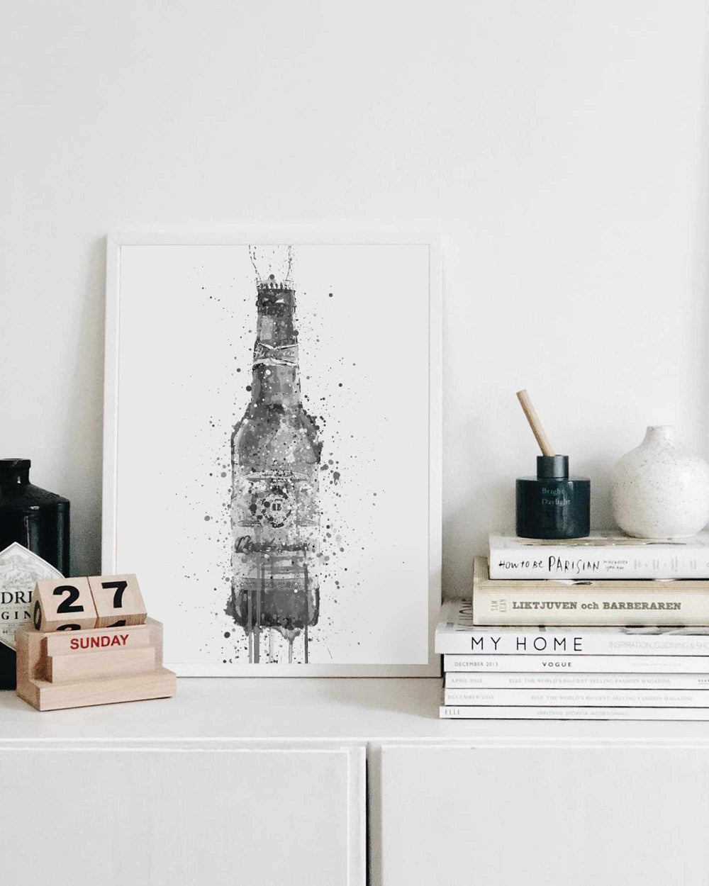 Beer Bottle Wall Art Print 'Amber' (Grey Edition)