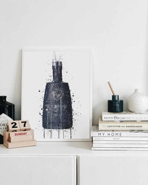 Gin Bottle Wall Art Print 'Dark Granite'