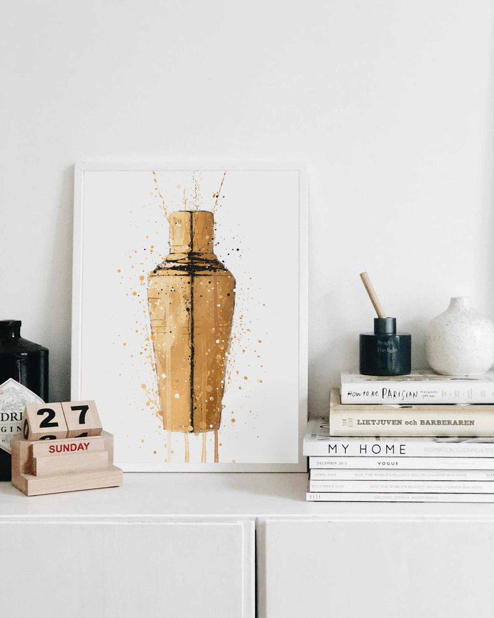 Cocktail Shaker Wall Art Print (Gold)