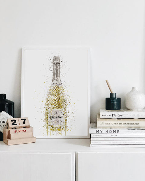 Prosecco Bottle Wall Art Print 'Opulance'