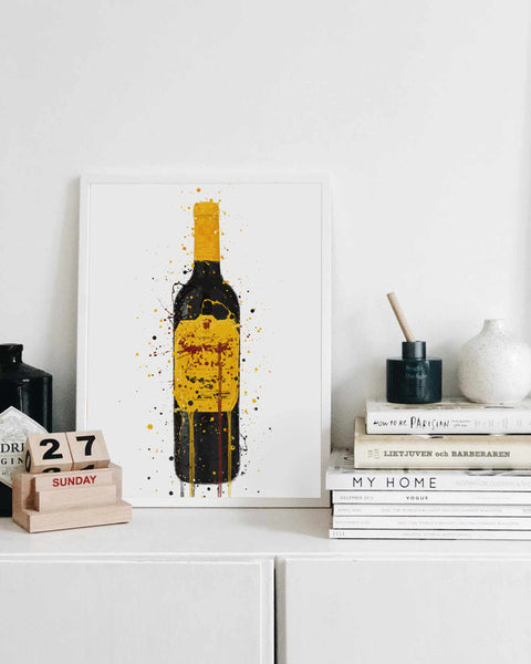 Wine Bottle Wall Art Print 'Canary Yellow'