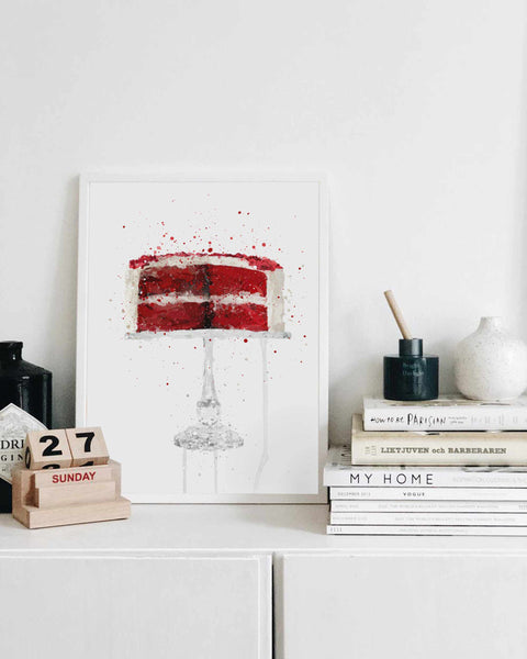 Red Velvet Cheesecake Wall Art Print