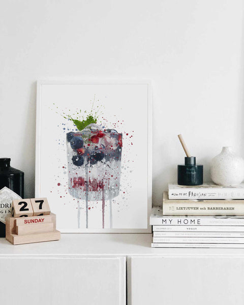 Gin and Tonic 'Blueberry & Pomegranate' Wall Art Print