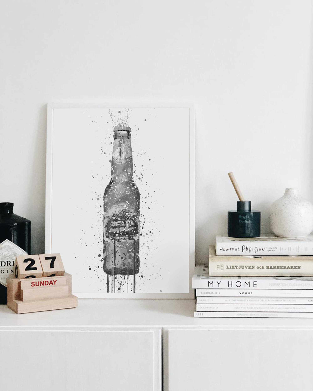Beer Bottle Wall Art Print 'Peridot' (Grey Edition)