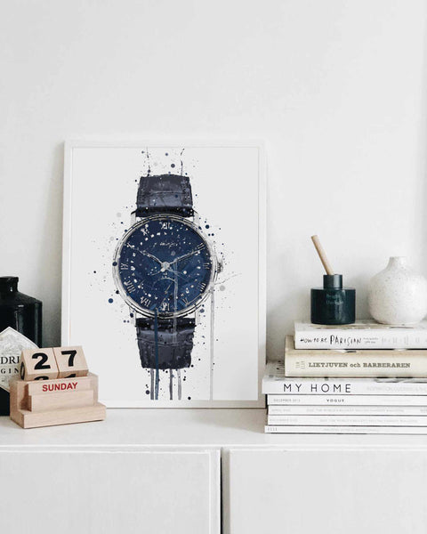 Wrist Watch Wall Art Print 'Midnight Blue'