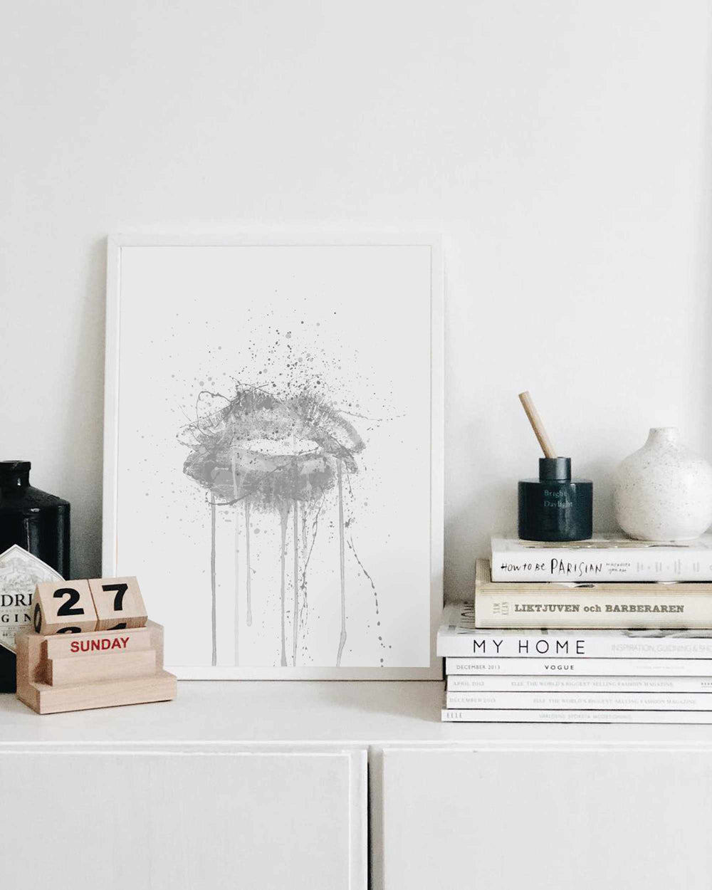 Kinda Sexy' Lips Wall Art Print (Grey Edition)