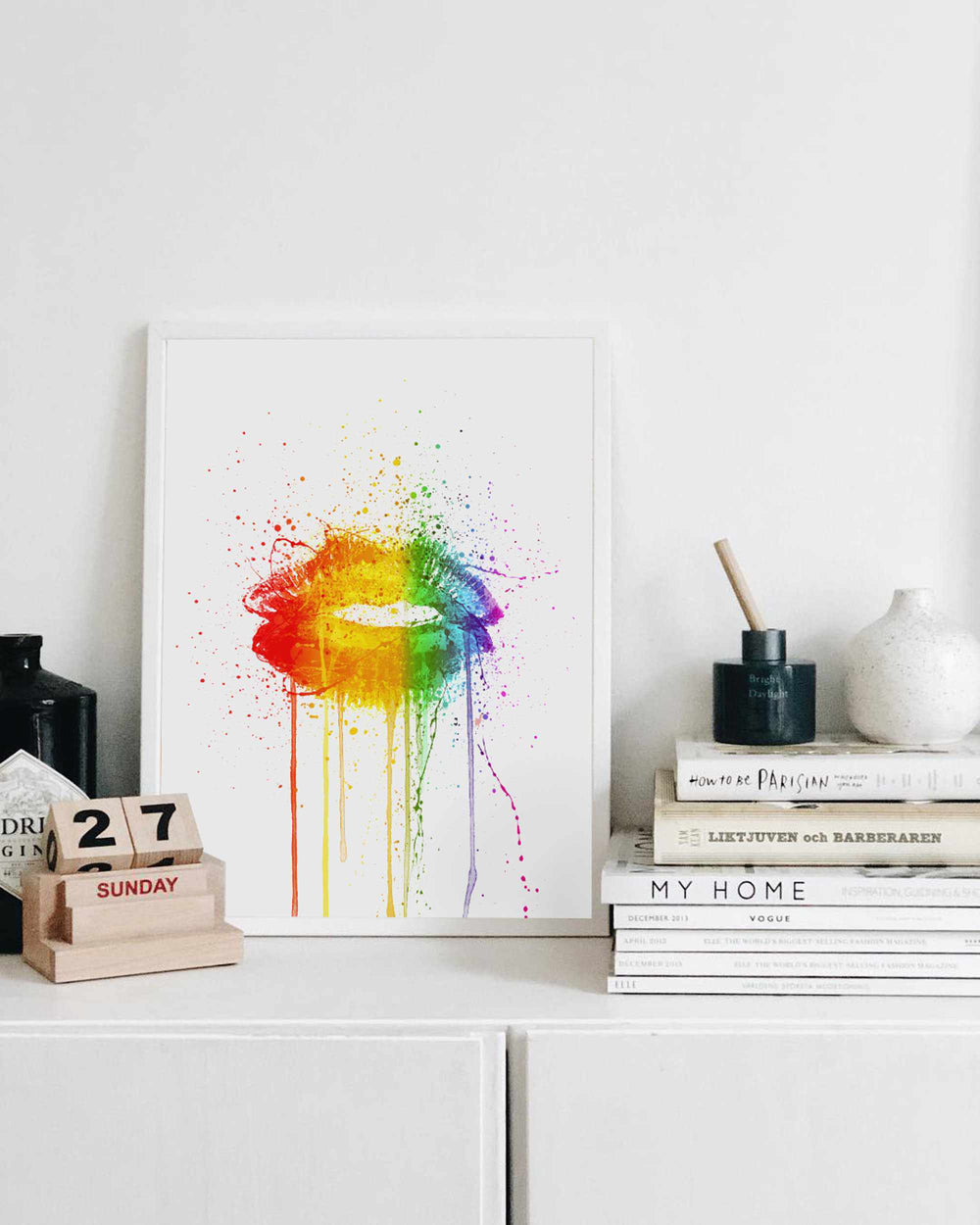 Rainbow Lip Wall Art Print