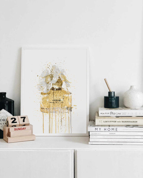 Fragrance Bottle Wall Art Print 'Yellow'