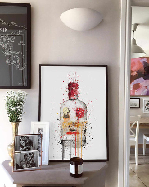 Gin Bottle Wall Art Print 'Crimson'-We Love Prints