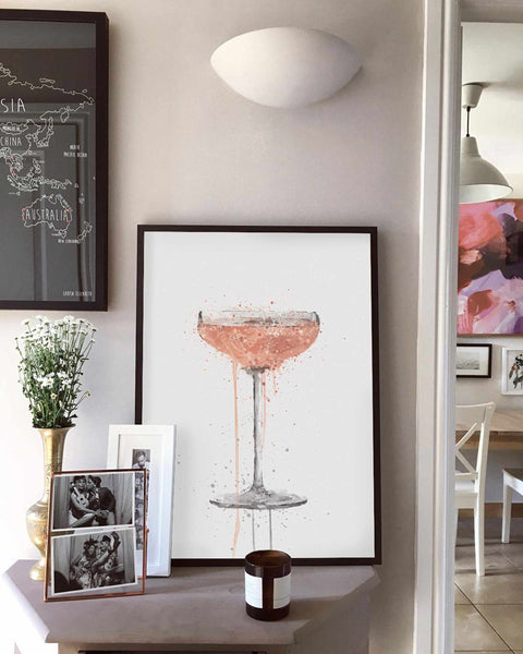 Champagne Coupe 'Rose' Cocktail Wall Art Print