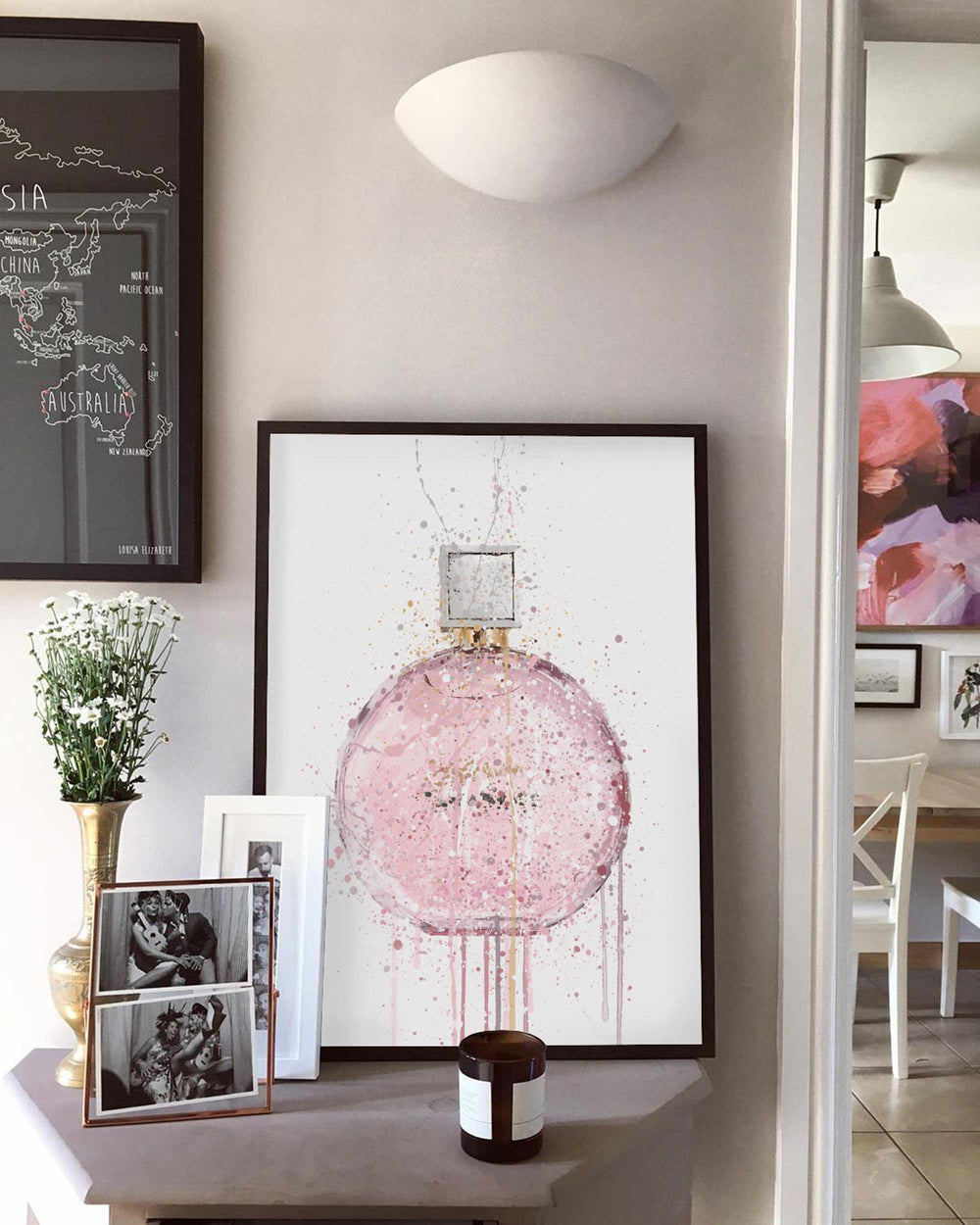 Fragrance Bottle Wall Art Print 'Pastel Pink'