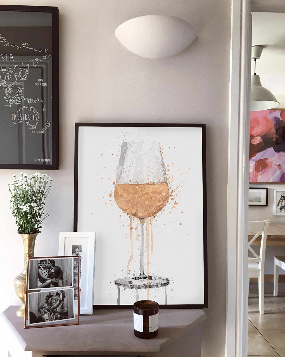 Rose Wine Glass Wall Art Print