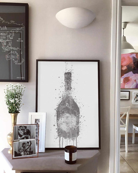 Champagne Bottle Wall Art Print 'Rosy' (Grey Edition)