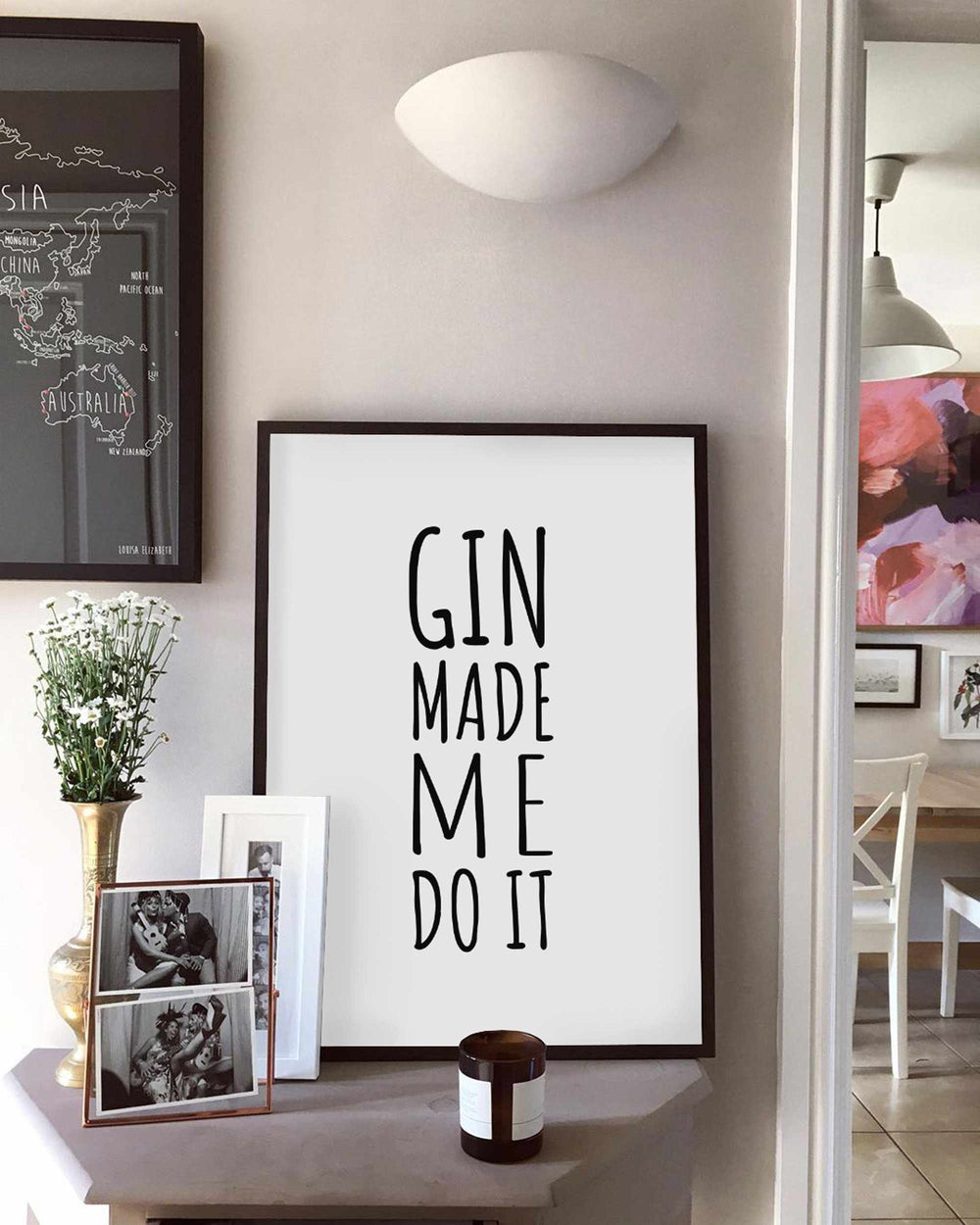 Typographic Wall Art Print 'Gin Made Me Do It'