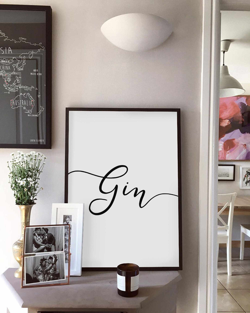 Typographic Wall Art Print 'Gin'