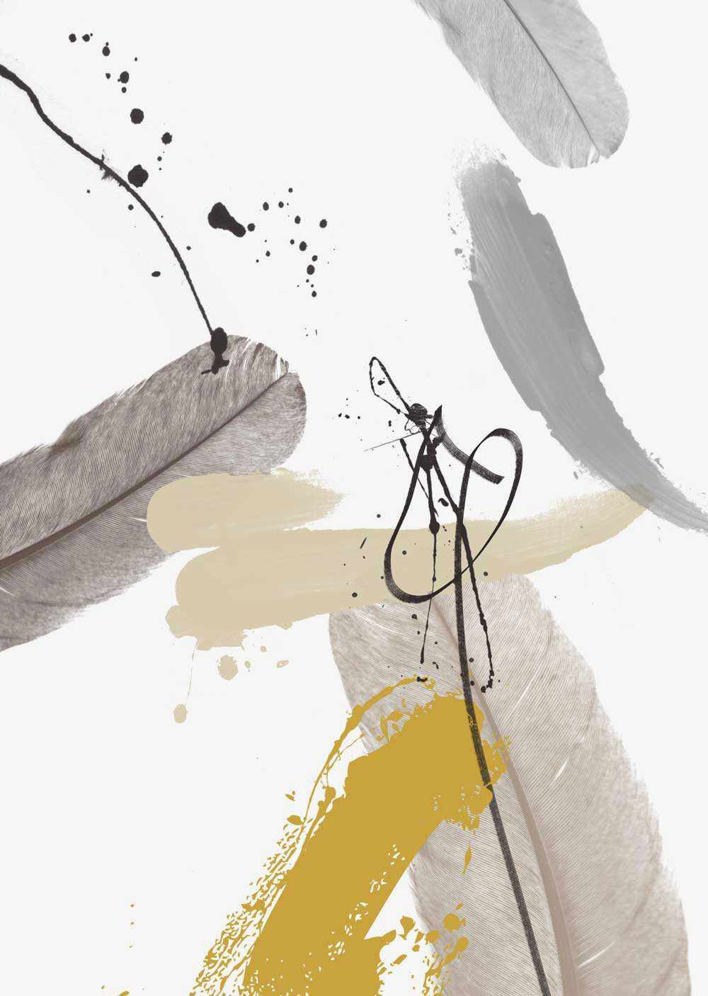 Abstract Grey & Mustard Wall Art Print II