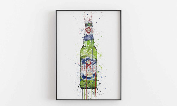 Beer Bottle Wall Art Print 'Green'-We Love Prints