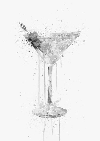 Dry Martini Cocktail Wall Art Print (Grey Edition)-We Love Prints