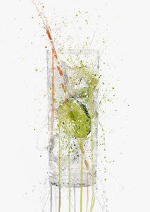 Gin and Tonic Glass 'Tall' Wall Art Print-We Love Prints