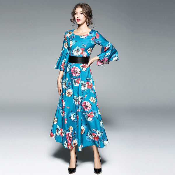 Round Neck Seven Horn Sleeves Printed Dress