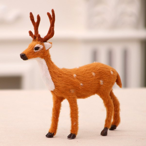 Christmas Elk Fluff Small Sika Deer For Decorations Family Kids Toys Gift