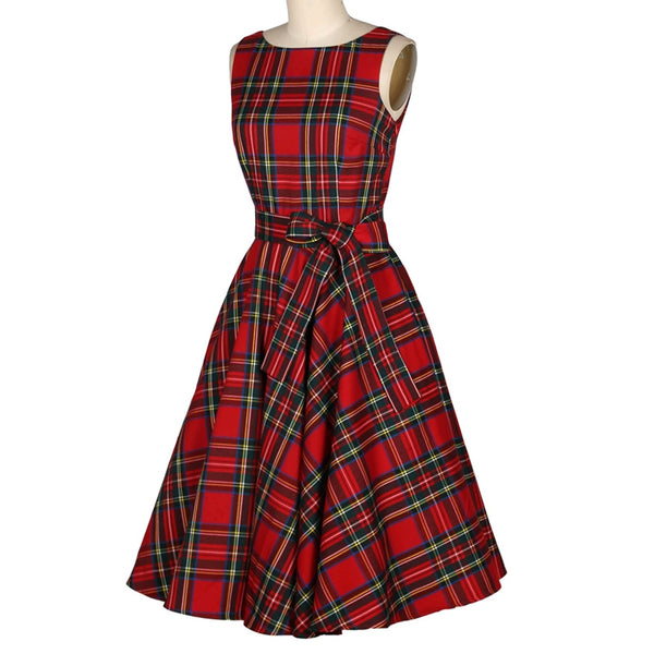 Women's Vintage Red Checked A-Line Dresses