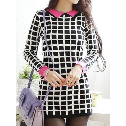 Stylish Flat Collar Checked Print Packet Buttock Long Sleeve Women's Sweater Dress