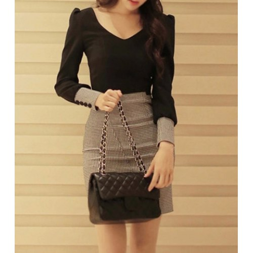 Stylish V-Neck Houndstooth Splicing Long Sleeve Women's Dress
