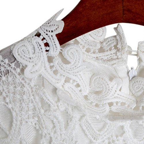 Sweet Style Round Collar Lace Crochet Flower Long Sleeve Women's Dress