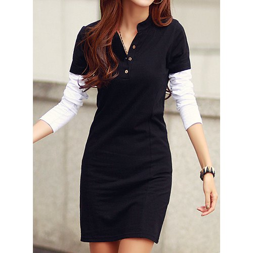 Elegant Round Neck Color Block Long Sleeve Dress For Women