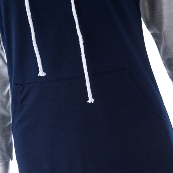 Casual Hooded Color Block Drawstring 3/4 Sleeve Women's Dress