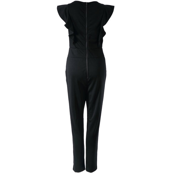 Stylish Round Neck Flounce Solid Color Jumpsuit For Women