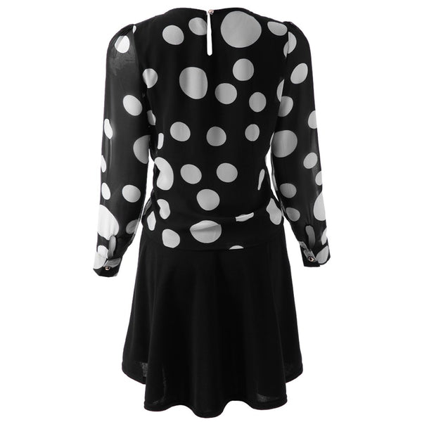 Elegant Scoop Neck Long Sleeve Polka Dot Chiffon Dress For Women