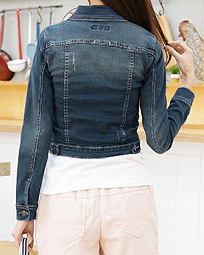 Casual Turn-Down Collar Frayed Single-Breasted Long Sleeve Denim Jacket For Women